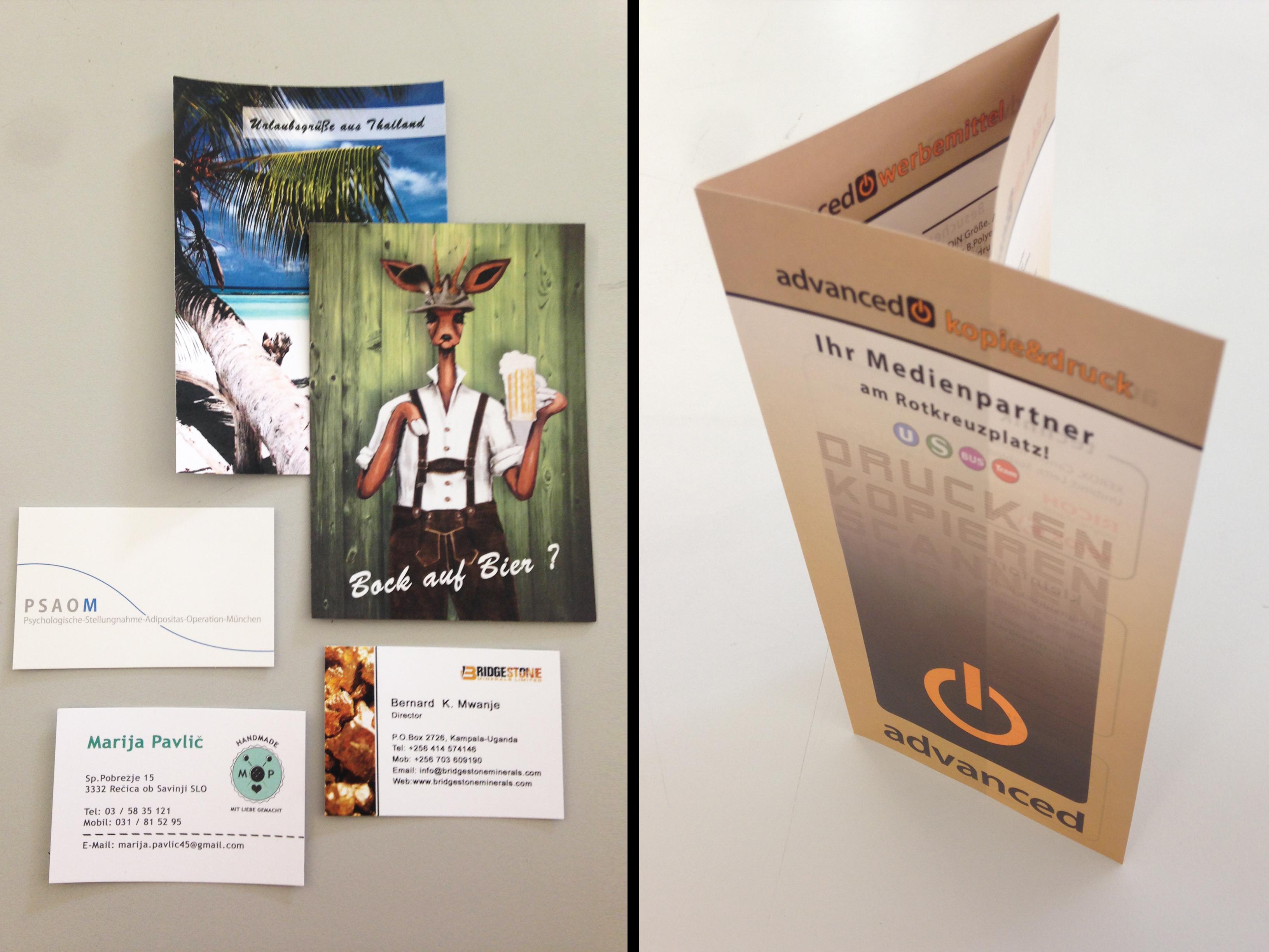 Flyer, Postkarten, Visitenkarten